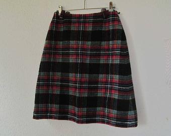Vintage 60s A-line wool skirt tartan rock wool Toussaint s