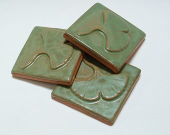 Gingko Tile, Set of three, 3 inch  Arts and Crafts tile for fireplace, kitchen and bath /spring green glaze