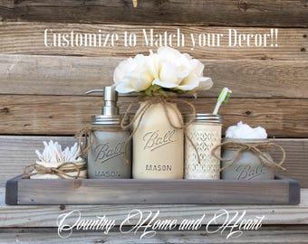 Farmhouse Bathroom Decor, Rusitc  Bathroom Decor, Mason Jar Bathroom Set, Southern Bathroom Decor, Painted Mason Jar Bathroom Set, Bathroom