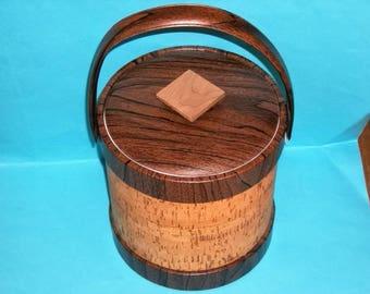 Retro Barware Ice Bucket Cork,Wood Grain Vinyl and Wooden Handle MINT