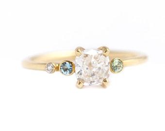 Diamond Engagement Ring, Cluster Engagement Ring, Cushion Cut Diamond, Mint Garnet Ring, Aquamarine Engagement Ring, Asymmetric Diamond Ring