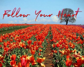 Quote Print, Follow Your Heart, Printable Quote Wall Art, Spring Time Tulip Field, Quote Poster, Tulip Stationery, Printable Quote Card