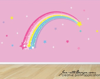 FREE US SHIPPING Large Rainbow Wall Decal,Plume of Stars and Rainbow Removable Wall Decal