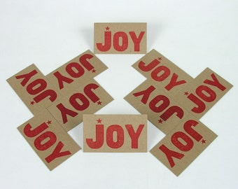 Red JOY Mini Hand Printed Letterpress Cards - 20 pack gift tags
