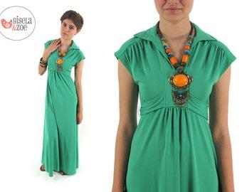 Vintage 70s Boho Maxi Dress, Empire Waist Dress, Hippie Dress, Boho Dress, Festival Dress, Mint Julip Dress Δ size: xs / sm