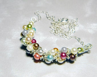 "Multicolor Glass Pearls Beadweaving Necklace Metallic Beads Sterling Silver - ""Confetti Pearls"""