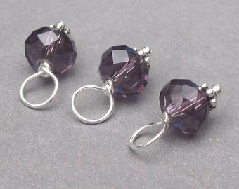 Amethyst Purple Birthstone Charms, Bead Dangles, Stitch Markers, Interchangeable Earrings, Wine Glass Charms, The Dangle Diva