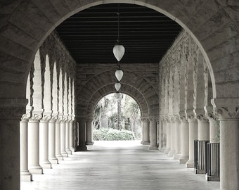 Black & White Photography, Columns Arches Black and White Stanford University Architectural Art, Black White Wall Art, Black White Print