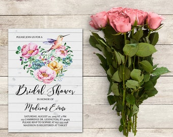 Bridal Shower Invitation, Hummingbird Invitation, Floral Invitations, Pink Flowers, Watercolor, 5x7 Inch, Spring Bridal, Printable No. 1032