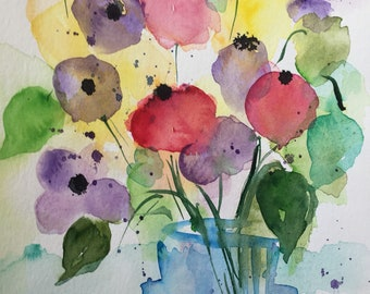 Original watercolor-Bouquet floral image Watercolor painting abstract