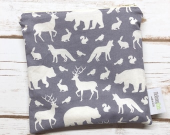 Reusable Snack Bag ~ Reusable Sandwich Bag ~ Reusable Lunch Bag ~ Eco Friendly ~ Water Resistant ~ Zipper Pouch in Woodland Animals