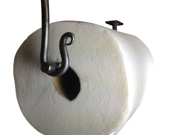 Metal Paper Towel Holder - Round Bar - Under Cabinet Mount - Hand Forged - Curled End
