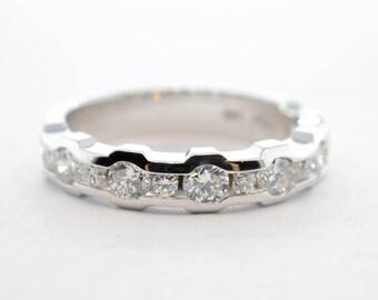 14k White Gold Thirteen Full-Cut Round Diamond Ring - Size 6