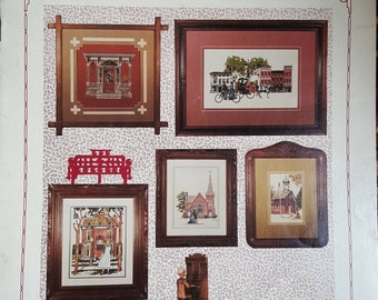 """ZERO Shipping! Puckerbrush Visits """"Simpler Times"""" - 1985 Counted Cross Stitch Leaflet - OOP - 5 Lovely Designs"""