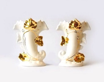 Cornucopia Vases, Vintage Thanksgiving Decor, 22 Kt Pottery F & M Artware, Autumn Table Decor