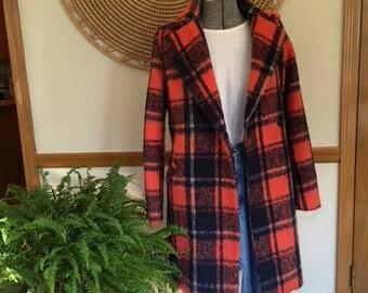 REDUCED ! 70s Deep Orange Plaid Wool Coat