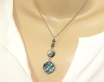 New Zealand Paua Shell Necklace with Freshwater Pearls, Stainless Steel Chain