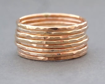 Rose Gold Ring thin hammered super slim stackable ring - gifts for her - thumb ring - midi ring or knuckle ring