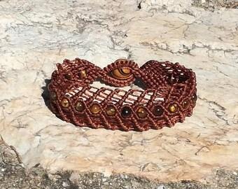 Naughty - macrame bracelet with tiger eye beads