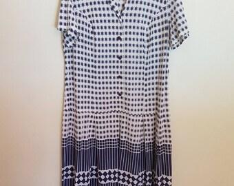 Vintage 1970's blue & white midi dress