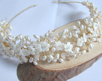 Freshwater pearl headpiece, Mother of Pearl flowers, bridal headpiece, gold and ivory pearl tiara, crystal tiara, flower headpiece