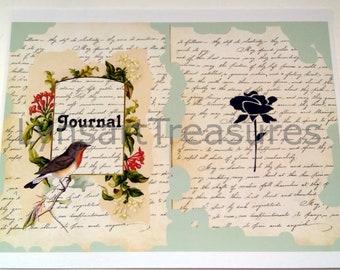 Digital Journal Kit, Journal Pages, Birds and Flowers Printables, Scrapbooking, Printables