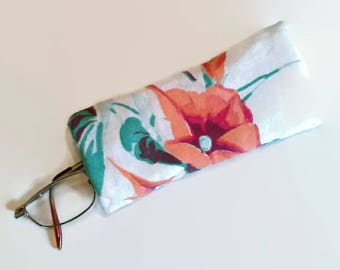 Orange Morning Glory Upcycled Eyeglass Case Sunglasses Holder