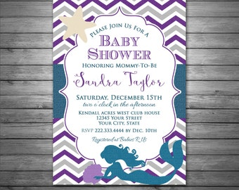 Mermaid Baby Shower Invitation, Printable File, for Girl, Chevron Pattern, Mermaid, Baby Shower, Teal and Purple, Under the Sea Baby Shower