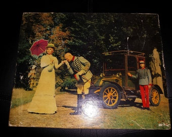 """Vintage photo colorized on wooden frame with old car and driver """"scene Kiss-hand"""" (early 1900)"""