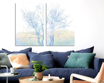 Sky blue print set, Blue watercolor art, Blue floral wall art, Blue tree wall art, Watercolor tree, Abstract blue set, Modern minimal tree