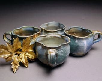 Handmade Multi-Colored Mug Set - Ceramic Matte Mug Set - Blue & Green set of Mugs