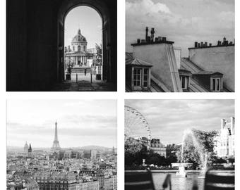 Paris Black and White Fine Art Print Set // Square French Photo Living Room Art // Parisian Still Life // 8x8 Photography for Bedroom Teri B