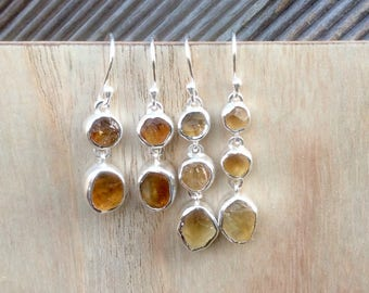 Citrine Silver Drop Earrings, Gemstone Earrings, Double Stone Earrings, Raw Citrine Drops, Raw Stone Silver Earrings