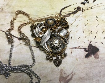 Beautiful Detailed Assemblage Necklace,Ornate Repurposed Jewelry Necklace, Upcycled Vintage Jewelry Necklace,Unique Statement Necklace