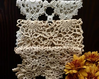 Vintage Table Top Crochet Doilies, Set of 3, Vinatge Hand Crochet Doilies, Retro Home Decor, Rustic Wedding Decor