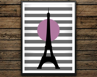 Premium Poster Eiffel Tower Illustration - Scandinavian Poster - Wall Art - Black and White Print - High Quality - Ideal Gift