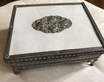 Vintage silver filigree musical jewlery box