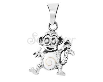 Sterling  Silver Monkey Pendant Made With Shiva Eye Gemstone