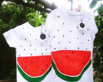 Tshirt Organic Cotton Baby certified hand-painted watermelon/WATERMELON