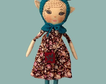 Deer doll Fantasy heirloom doll woodland doll stuff deer cloth doll rag doll fabric doll textile doll strange creature gift for girl