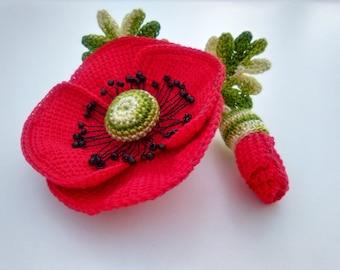 Poppy brooch Crochet flower Cotton organic Red flower brooch Elegant accessory Mothers day Gift Jewellery Poppy Brooch Remembrance Day
