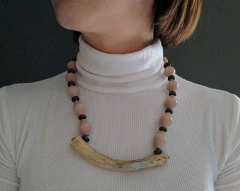 vintage beaded antler necklace in tan and brown