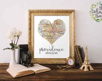 Heart Map print, printable map wall art decor,Providence, Rhode Island