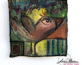 Original Fiber Art 14x14 with Bird - Mixte Media Textile Art - Contemporary Art - Free Hanging Art - Reversible Art