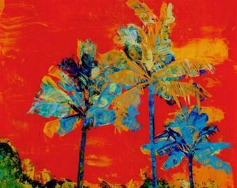 Tropical palm trees, 8x8 art prints, tropical art, hawaiian print, housewarming gift, boho, tropical decor, palm leaves, coconut palms