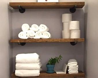 "8"" Depth Industrial Floating Shelf, Rustic Wall Shelves, Wood and Pipe Shelf, Open Shelving"