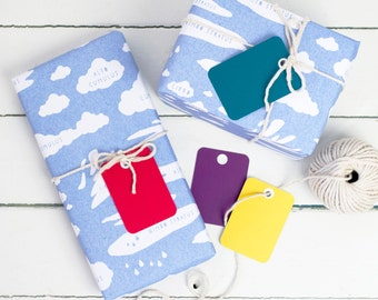 CLOUDS WRAPPING PAPER Educational Cloud Types Gift Wrap Set. Illustrated Sky Blue Kraft Sheets Matching Colourful Tags Birthday Party Unique
