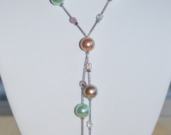 Pretty Vintage Multi Colored Faux Pearl Lariat Necklace
