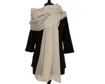 MERINO WOOL with CASHMERE Scarf  - Pale Grey and White