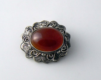 Sterling Glass Brooch  Unique vintage, antique, costume and estate jewelry.